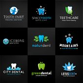 Set of dental logos. Vector tooth designs. Teeth clinic template. Creative health concept. Oral care symbols collection on dark background. poster