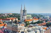 Kaptol and catholic cathedral in the center of Zagreb, Croatia, panoramic view poster