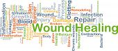 Background concept wordcloud illustration of wound healing poster
