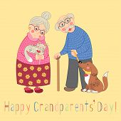 Happy grandparents day card. Poster with cute darling grandmother and grandfather, granny and grandpa, their cat and dog on leash, vector illustration poster