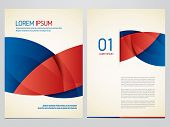 Vector blue and red brochure, annual report, flyer, magazine template. Modern corporate design. poster