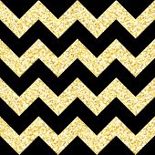 New Year seamless gometric pattern with golden glitter textured zig-zag stripes, vector illustration poster