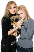 Portrait of two beautiful young women with pekingese poster