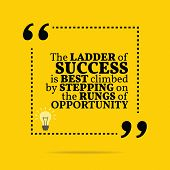 Inspirational motivational quote. The ladder of success is best climbed by stepping on the rungs of opportunity. Simple trendy design. poster