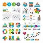 Business data pie charts graphs. 3d technology icons. Printer, rotation arrow sign symbols. Print cube. Market report presentation. Vector poster