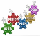 Idea, Design, Plan, Build and Done words on gears with workers climbing up the steps or instructions to complete a project, job, task or work objective poster