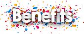 Benefits sign with colour confetti. Vector paper illustration. poster