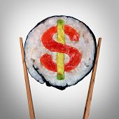 Restaurant business and Expensive huge food bill symbol or overpriced dining price tag as a piece of fresh sushi held by chop sticks with a dollar sign inside the roll as an icon for entertainment cost or tipping service. poster