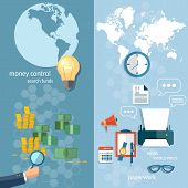 Business world concept money transfer transactions finance online payment working office stationery businessman financial analyst paperwork vector banners poster