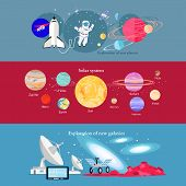 Space exploration cosmic industry. Galaxy and solar system, space science, universe and astronomy, discovery and travel of spacecraft, shuttle equipment, astronaut or spaceman explorer illustration poster