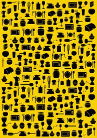 Background With Various Kitchen Black Symbols On Yellow Background