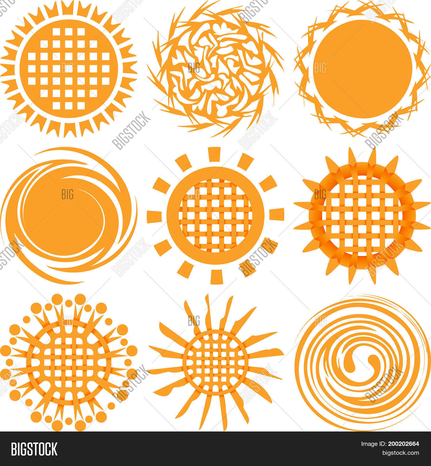Sun Icons Isolated On Vector Photo Free Trial Bigstock