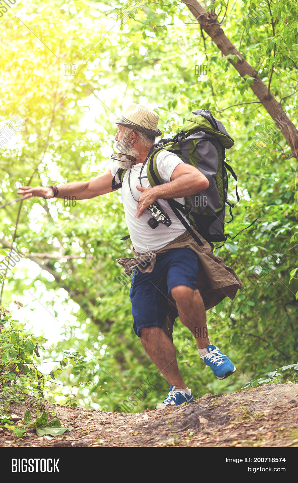 Scared Old Man Running Image Photo Free Trial Bigstock