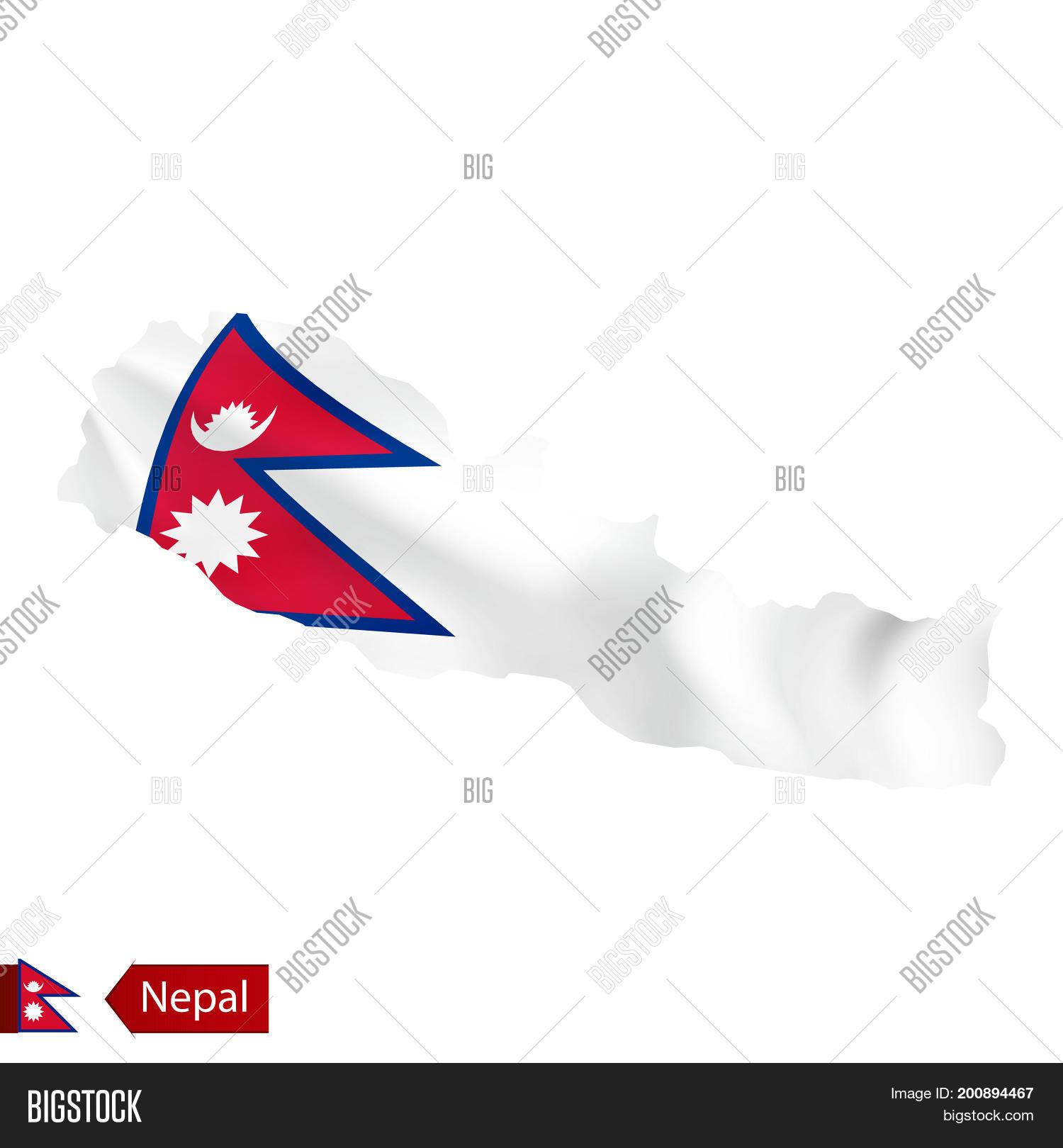 Nepal Map Waving Flag Vector & Photo (Free Trial) | Bigstock