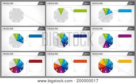 Octagon shaped pie divided into 8 equal parts are illuminated in sequence on white background. Elements for info graphics, use in presentation. Vector image