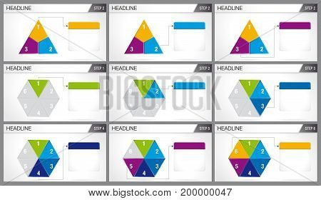Triangle shaped pie divided into 3 equal parts and hexagonal pie divided into 6 equal parts are illuminated in sequence on white background. Elements for info graphics, use in presentation. Vector image