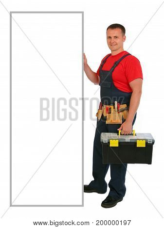 Full length portrait of an happy caucasian construction worker with blank billboard. Smiling handsome plumber. Handyman isolated on white background