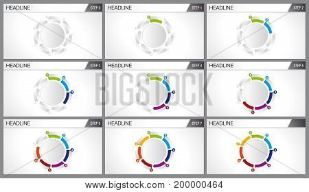 Graphic of 7 arrows of different colors forming a cycle. Each graph shows step by step how the cycle is completed. Elements for info graphics, use in presentation. Vector image