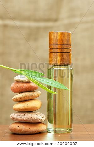 essential spa oil and heating stones