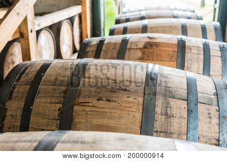 Bourbon Barrels Waiting to Be Placed in Warehouse for Aging