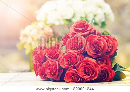 close up beautiful red roses bouquet cinema color process style