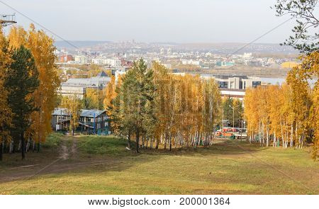 View of the city and autumn forest