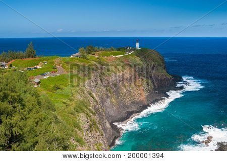 Kilauea Lighthouse On A Sunny Day In Kauai, Hawaii
