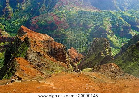 Aerial View Into Waimea Canyon, Also Known As The Grand Canyon Of The Pacific On The Island Of Kauai