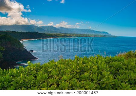 Panoramic View Of The North Shore Of Kauai From Kilauea Point, Hawaii With The Na Pali Coast In The