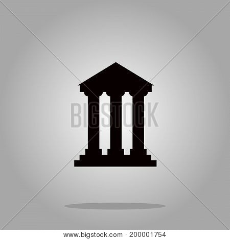 Bank building pillar sign icons, vector illustration. Flat design style