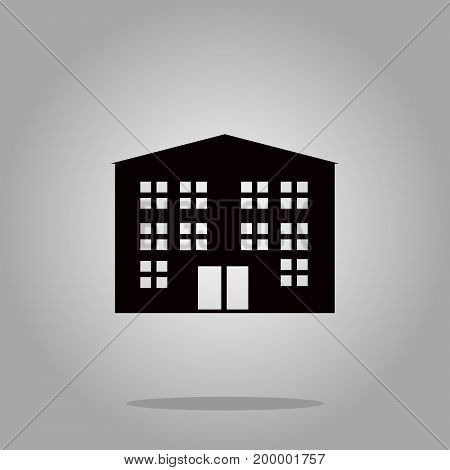 building icon black silhouette on background Vector Illustration