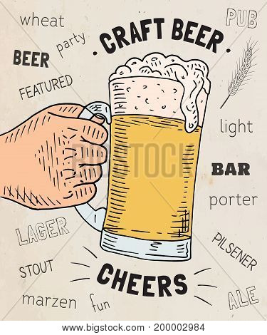 Beautiful poster of the glass of craft beer. Cheers