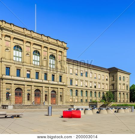 Zurich, Switzerland - 20 July, 2016: the main building of the Swiss Federal Institute of Technology in Zurich. The Swiss Federal Institute of Technology in Zurich is a science, technology and engineering university.
