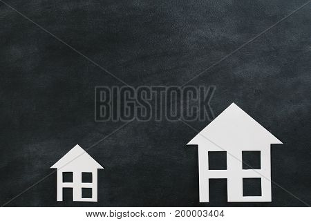 Paper House Isolated On Blackboard Background