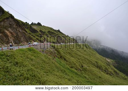 The Mountainous And Cloudy Environment Along The Way To Taroko National Park In Taiwan
