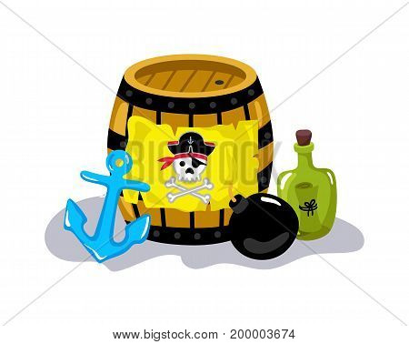 Pirate sign on wooden barrel icon. Children drawing of pirate concept vector illustration isolated on white background.