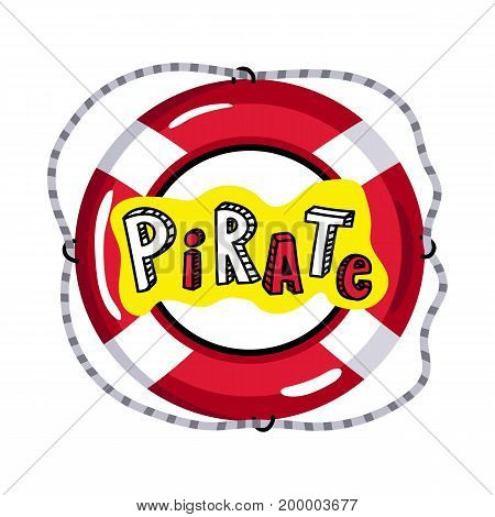 Lifebuoy from pirate sailing vessel icon. Children drawing of pirate concept vector illustration isolated on white background.