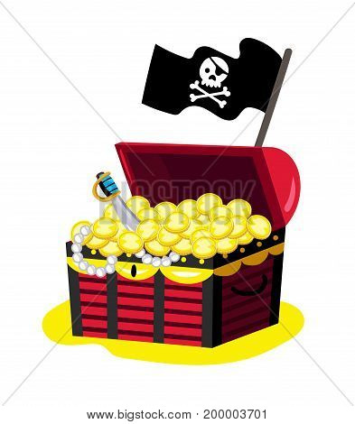 Pirate chest of gold icon. Children drawing of pirate concept vector illustration isolated on white background.