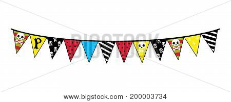 Pirate party decoration icon. Children drawing of pirate concept vector illustration isolated on white background.