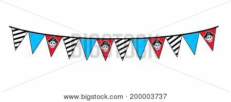Pirate party garland icon. Children drawing of pirate concept vector illustration isolated on white background.