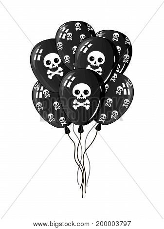 Pirate party air balloons icon. Children drawing of pirate concept vector illustration isolated on white background.