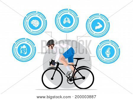 man bike for health infographics on white background