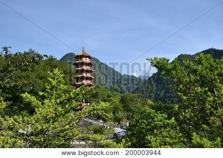 Hsiang-te Temple In The Middle Of Taroko National Park In Taiwan