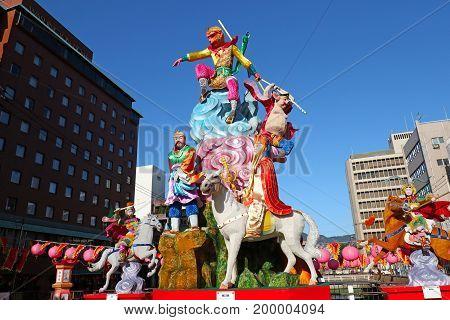 Jan 27, 2017 Nagasaki, Japan. Annual Nagasaki Lantern Festival decorations during Chinese New Year celebrations. Monkey King Story.