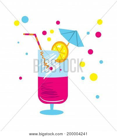 Party cocktail isolated element. Birthday card design symbol, surprise party icon, happy holiday vector illustration.