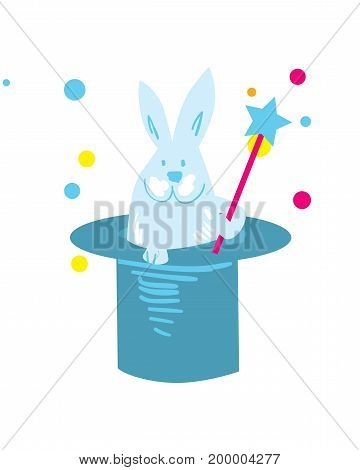 Rabbit in hat isolated element. Birthday card design symbol, surprise party icon, happy holiday vector illustration.