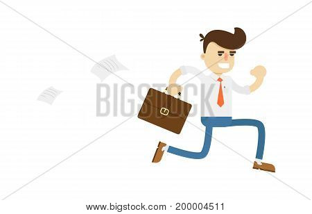 Running businessman with suitcase icon. Business project and realization vector illustration in flat design.