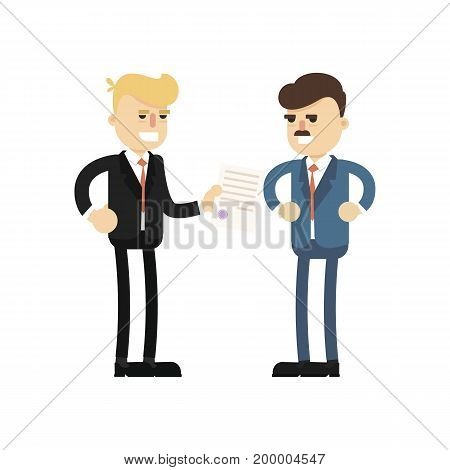Business meeting concept with smiling businessmen icon. Business teamwork and project realization vector illustration in flat design.