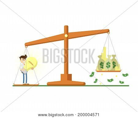 Businessman with big light bulb on scales with money icon. Business project and idea generation vector illustration in flat design.