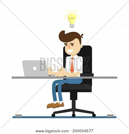 Businessman work on laptop icon. Business project and idea generation vector illustration in flat design.